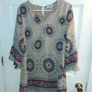 Umgee Large Boho Dress Boutique Bell Sleeves